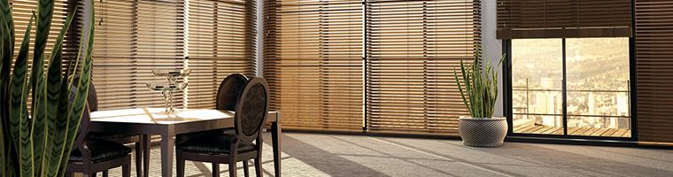 Horizontálne vnútorné žalúzie na tienenie v interiéri